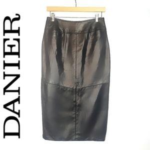 DANIER Leather Pocketed Black Midi Skirt 6 A-Line